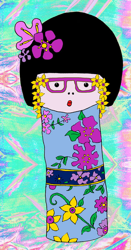 kokeshi doll with eye glasses